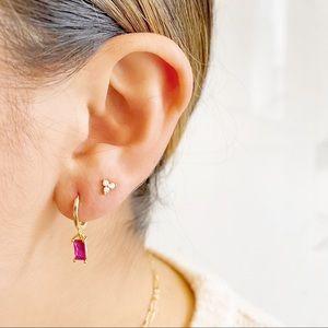 Ruby/Gold Baguette Mini Huggie Hoop Earrings
